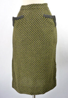 Vintage 50s Gray & Chartreuse Starburst Woven Star Hip Pocket Pencil Skirt XS 24
