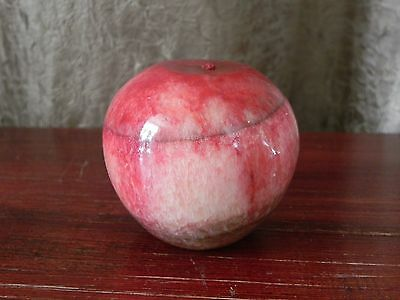 Marble Onyx Stone Carved Red Apple Fruit Paperweight Figurine