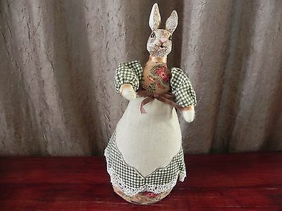 Cloth Resin Bunny Weighted Bottom Easter Decoration