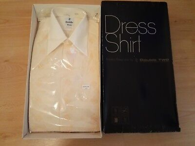 Vintage Retro 1970 Boxed Double Two,14.5 Cream Dress Shirt, Double Cuff & Links