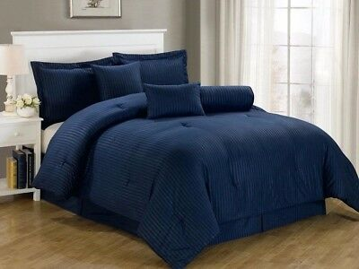 Chezmoi Collection 7-Piece Hotel Solid Dobby Stripe Comforter Set Queen, Navy