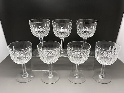 7 Vintage Webb Crystal Cut Glass Glasses (Normandy?)