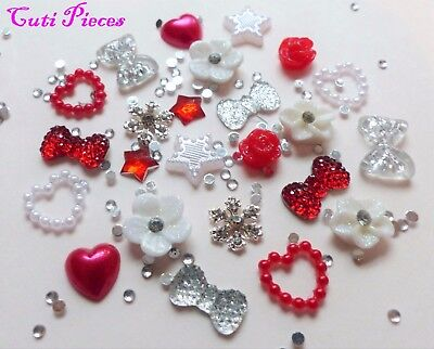 "24pcs 3D Nail Art Red Silver ""Xmas Snowflakes"" Rhinestone Flower Star Bow Alloy"