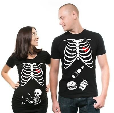 Pregnancy Matching Couple T shirts X-ray Funny Halloween Couples Costume Shirts