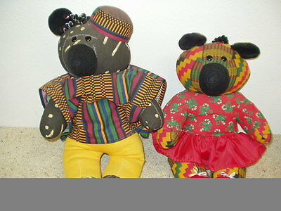 NWOT Set of 2 AVON Kwanzaa Bears Boy & Girl Dated 1994