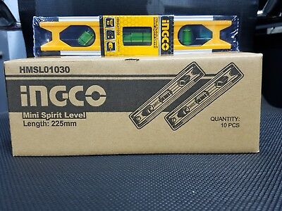 10x INGCO Mini Spirit Level Magnetic 225mm HMSL01030 Bulk Box