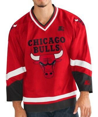 fc6b4148f CHICAGO BULLS MEN S Hockey Jersey by STARTER - Red Color Jersey ...