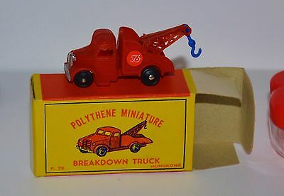 VTG 1960s Polythene Miniature Breakdown Truck Wrecker Union 76 Red MIB NOS