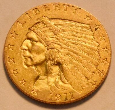 1911 $2.50 Gold Indian Quarter Eagle, High Grade 2 and 1/2, Nice Looking Coin