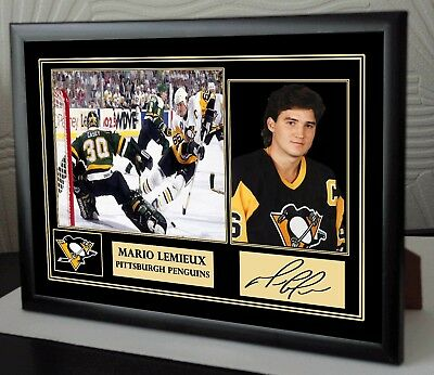 "Mario Lemieux Ice Hockey  Framed Canvas Tribute Print Signed ""Great Gift"""