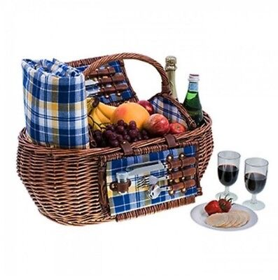 NEW Avanti Willow 4Person Picnic Basket Blue/Yellow Check. Great PRICE!