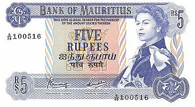 Mauritius  5 Rupees  ND. 1967 P 30c  Series A/48  Uncirculated Banknote AF0517jK