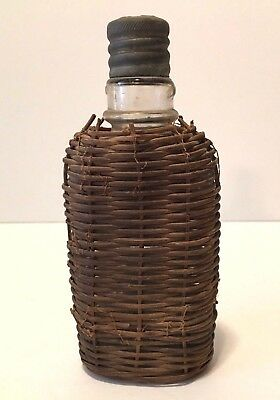 Vintage Wicker Woven Covered Glass Bottle Flask