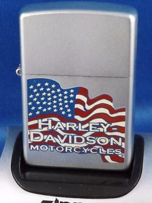 Harley Davidson Motorcycles Zippo Lighter Flowing Usa Flag Sealed New 2006