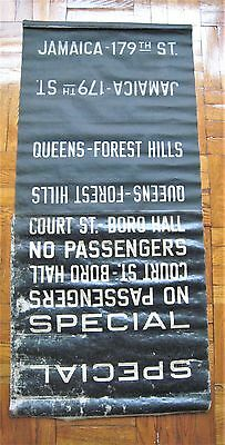 Vintage New York R-10 Subway Car Roll Sign Section Forest Hills Jamaica Court St