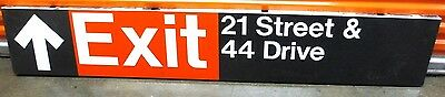 Vintage New York Subway Train Station Metal Sign 21 Street Exit Queens LIC