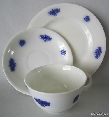 Antique ADDERLEY CHELSEA WARE Smooth BLUE GRAPE TRIO Sets Cup, Saucer, Plate