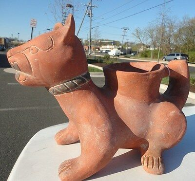 Pre-columbian Style Colima Mexico Pottery standing Dog vessel Antique repro arte