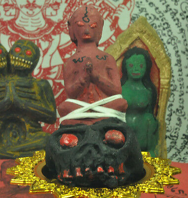 RED Por Ngang sit on skull ghost holy Thai witchcraft voodoo sorcery thai amulet