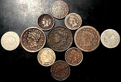 1800s Low-Grade/Cull Lot: Large Cents, Shields & Indian Head Pennies [C14]