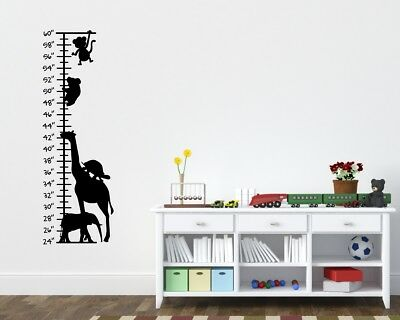 Zoo Animals Growth Chart Childrens Room Kids Room Wall Ruler Giraffe Grow Ruler