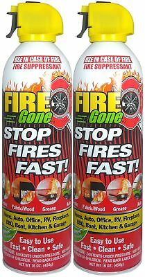 Fire Gone 2NBFG2704 White/Red Fire Suppressant Canisters - 16 Ounce, (Pack of 2