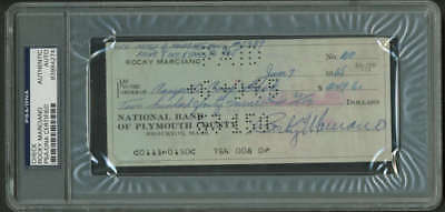 Rocky Marciano Signed Autographed 1965 Bank Check PSA/DNA Encapsulated