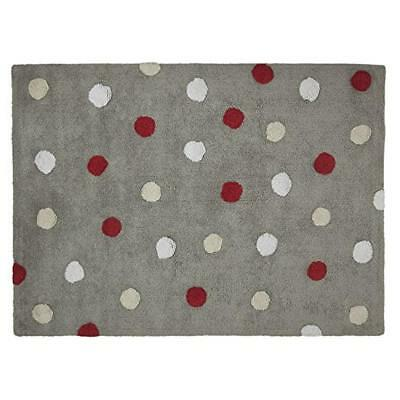 Lorena Canals C-TT-3 Topos Tricolor Grey – Red Washable Rug, Rosso - NUOVO