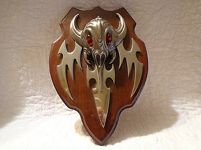 Fantasy Horned Red Eyed Ninja Ant Creature Head 3D Wall Plaque USED