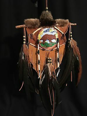"Handcrafted Mohawk Birch Bark Mandella 8"" X 19"" called Coyote Hunt"