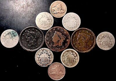 1800s Low-Grade/Cull Lot: Large Cents, Shields & Flying Eagle Cents [C10]