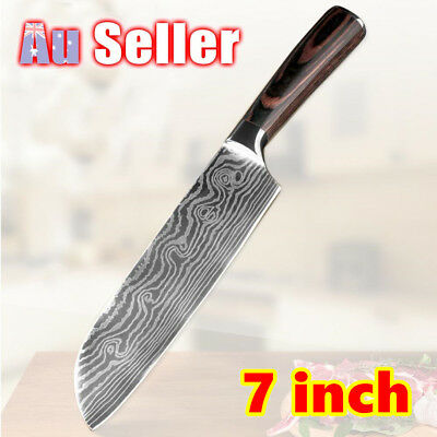 "7"" Inch Damascus pattern Stainless Steel Blade Knife Chef Kitchen 7Cr17"