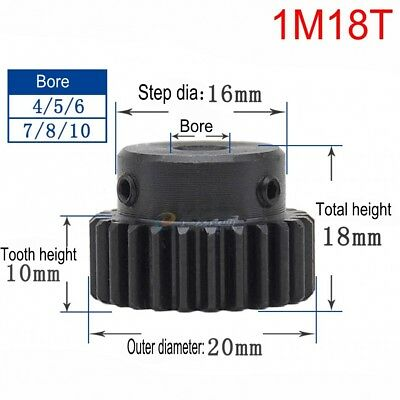 1Mod 18T Spur Gear 45# Steel Motor Gear Outer Diameter 20mm Bore 5mm x 1Pcs