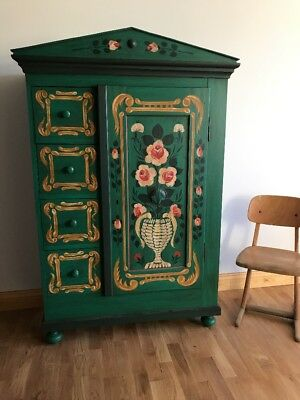 Beautiful Old Antique Painted Armoire Toy Storage Cottage Cupboard