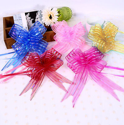 10x Pretty Organza Yarn Pull Bows Ribbons Wedding Party Flower Decor Gift Wraps