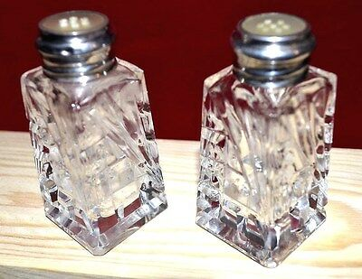 Antique  Sterling Silver  Crystal- Top  Mother Of Pearl Hand Cut  Art Shakers