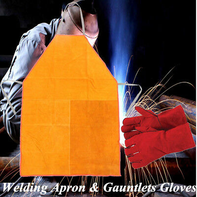 Heavy Duty Welders Welding Apron & 300mm Gauntlets Gloves Chrome Leather Safety