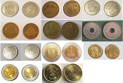 11 Egypt Coins 1967 To 2015 - 6 Off Unc