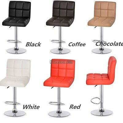Modern Set of 2 Bar Stool Leather Adjustable Swivel Pub Chair 6 Colors