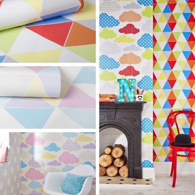 Kids Marshmallow Clouds/ Harlequin Geometric Paste The Wall Wallpaper