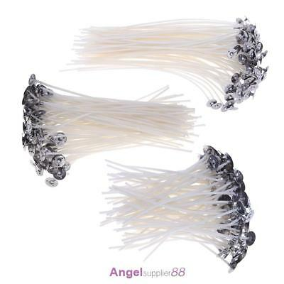 100pcs Candle Wicks Low Smoke Pre Waxed Wick with Tabs Sustainers Cotton Core A