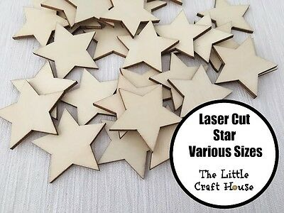 Wooden Star Laser Cut Ply Blank Stars Wood Shape Shapes Scrapbooking DIY Craft