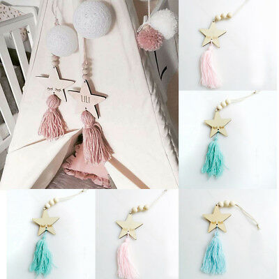 Nordic Style Kids Room Decor Star Shape Wooden Beads Ornaments Hanging Tassel