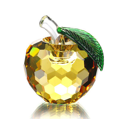 3D Crystal Paperweight Yellow Faceted Apple Ornament Wedding Decor 60mm Gfit