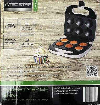 TEC STAR SweetMaker Cupcake Muffin Brownies Popcakes 3-in-1 weiss 700 Watt