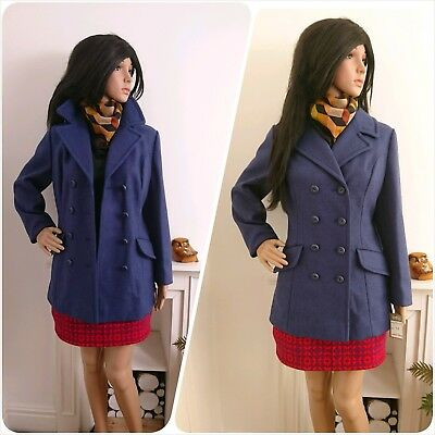 Vtg With Tags 70s Blue Double Breasted Wool Military Pea Jacket Coat 10 12 38