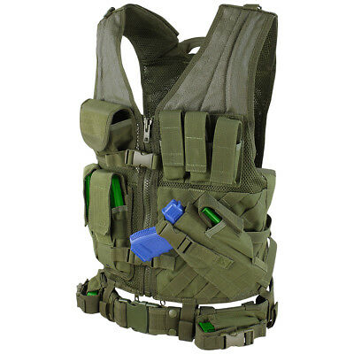 Condor Crossdraw Tactical Vest Military Combat MOLLE Webbing Airsoft Olive Drab
