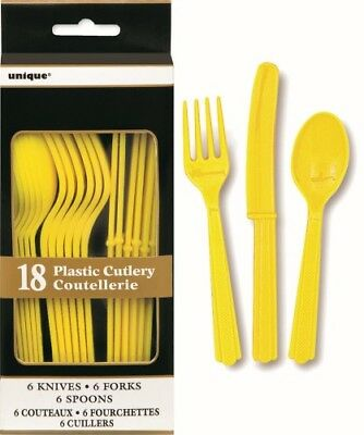 Unique Assorted Cutlery 18pcs - Lime Green, Yellow, Hot Pink, Royal Blue, Red