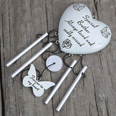 David Fischhoff Grave Memorial Heart Wind Chime Ornament Stone Brother 069