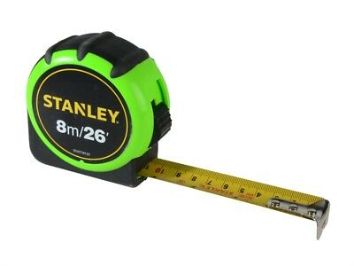Stanley Heavy Duty Hi-Vis Hi-Visibility Tape Measure 8m 26ft Measuring New